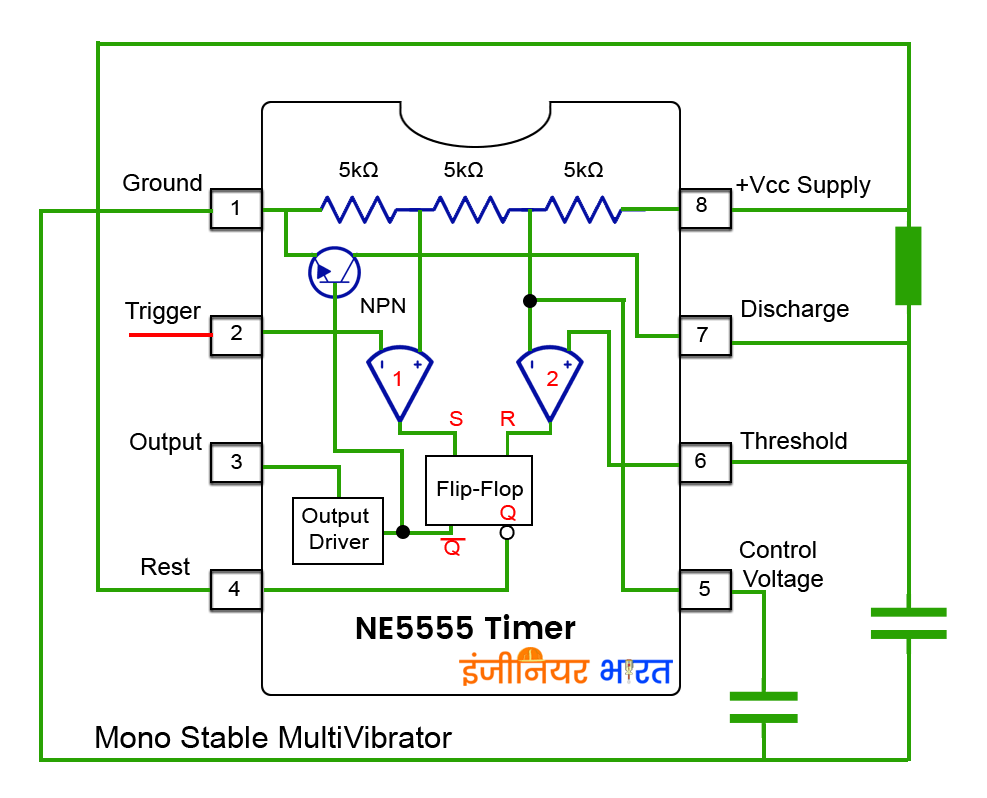 555 Timer Ic Bistable Multivibrator Circuit Diagram Mono Stable